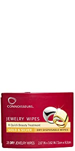 Connoisseurs Jewelry Wipes, simple clean, cleans silver, cleans gold, jewelry cleaner, polisher