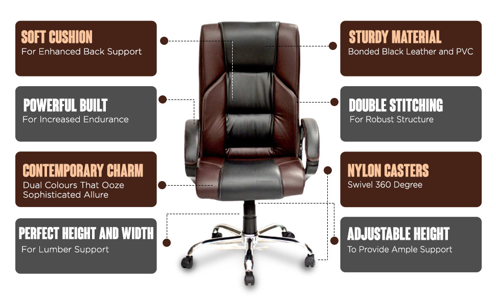 High Living High-Back Executive Office Chair   Desk Chair - Black & Brown SPN FOR1C
