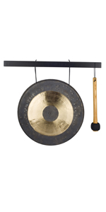 Black and bronze gong with mallet