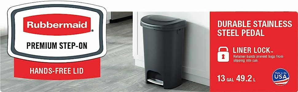 rubbermaid premium step on trash can black home kitchen bathroom garbage