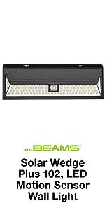 mr beams solar wedge plus 102, wireless solar powered led security light, solar led motion spotlight
