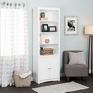 Prepac WSBH-0004-1 Tall Bookcase with 2 Shaker Doors, White