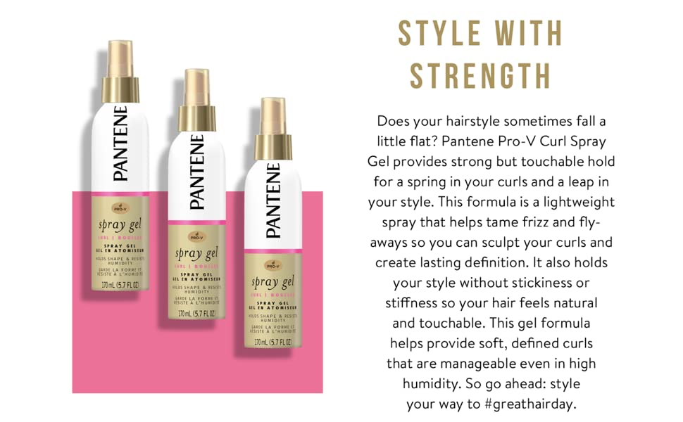 pantene spray gel for curls tame frizz sculpt curls styling style curly hair lightweight spray