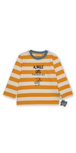 Jersey de manga larga para niños pequeños, diseño de rayas, color naranja, verano, primavera