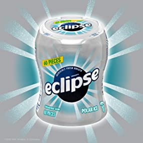 Eclipse polar ice bottle sugarfree chewing gum, car cup