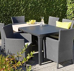 Keter - Mesa de comedor exterior Futura de hasta 6 plazas, Color ...