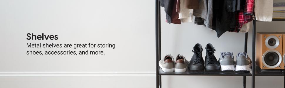 clothing rack with shelf, hallway metal hanger, clothing rack for dorm, dormitory clothing hanger
