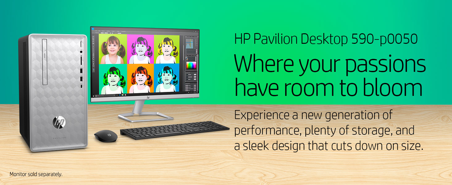 HP Pavilion Desktop 590-p0050 power powerful high performance storage sleek design compact small