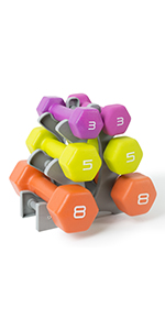 Amazon com : Tone Fitness Neoprene Dumbbell Set with Rack
