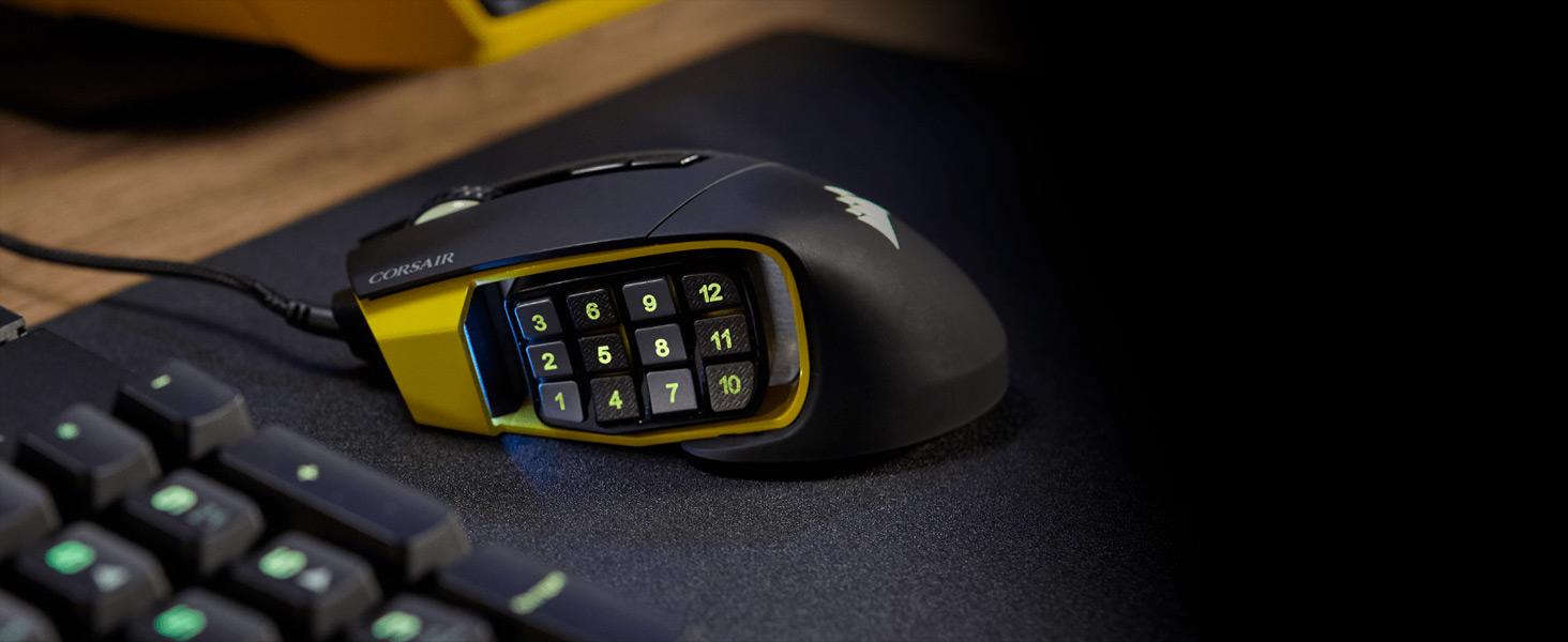 CH-9304111-NA SCIMITAR PRO RGB Optical MOBA/MMO Gaming Mouse — Black