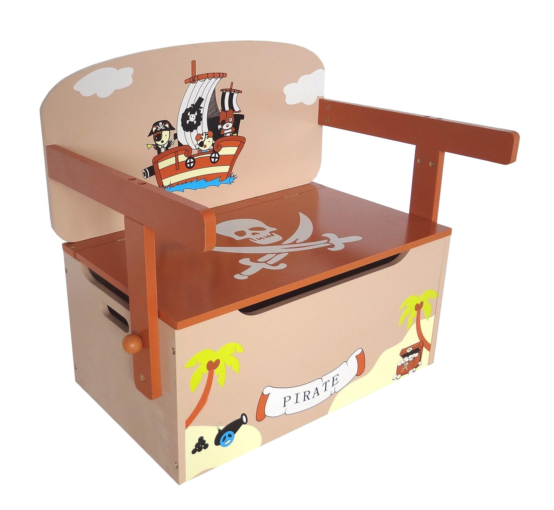 Toy Box Large Solid Wood Storage Chest Trunk Playroom: Kiddi Style Children's Pirate Wooden Convertible Toy Box