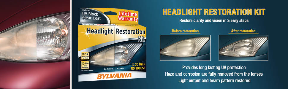Sylvania headlight restoration kit head light lens restorer foggy hazy uv block car cleaning kit hrk