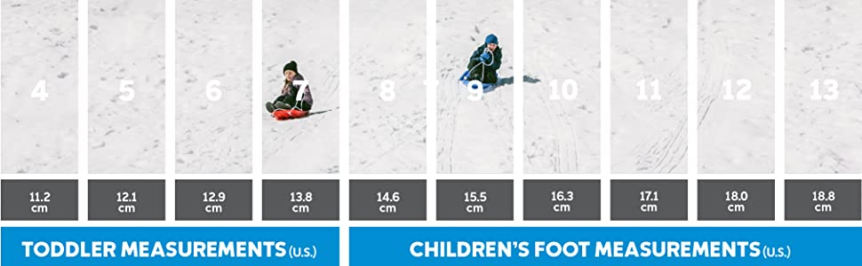 Children and toddler snow boot size chart