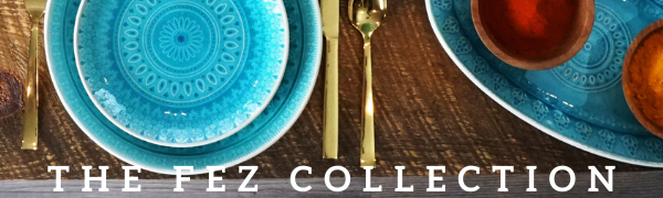 The Fez Turquoise Reactive Crackleglaze Collection with Dinnerware, Serve Ware, and Drinkware