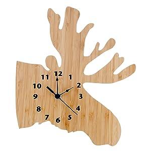 bamboo moose clock, moose clock, nursery moose clock