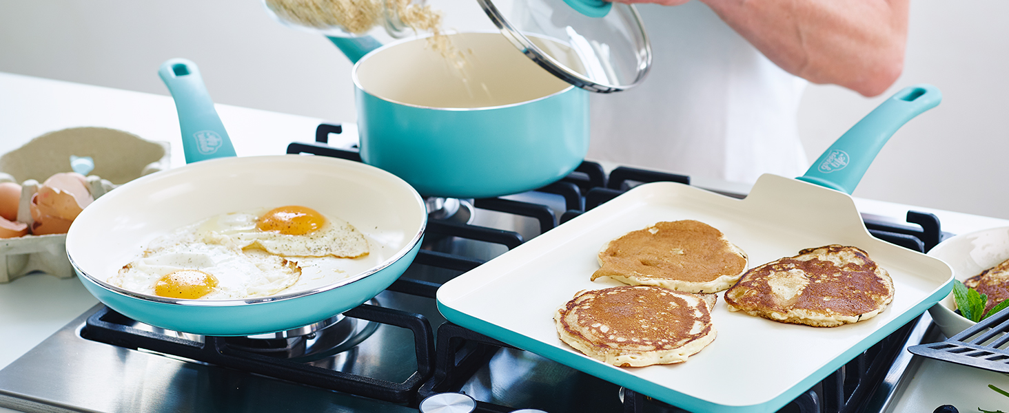 GreenLife, turquoise, soft grip, ceramic nonstick, colorful, healthy, stay cool, comfortable, easy