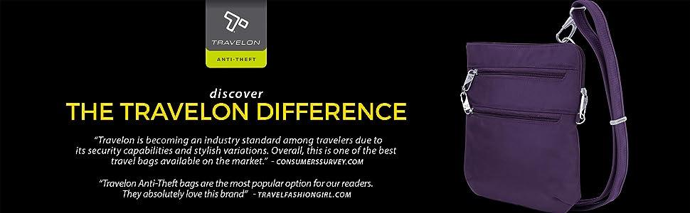 Amazon.com: Travelon Dbl - Bolso bandolera con cremallera ...