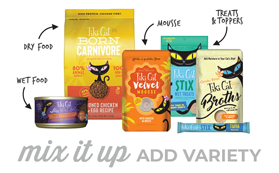 variety tiki cat dry wet kibble canned broth mousse smooth texture canned pouch bag stix single serv
