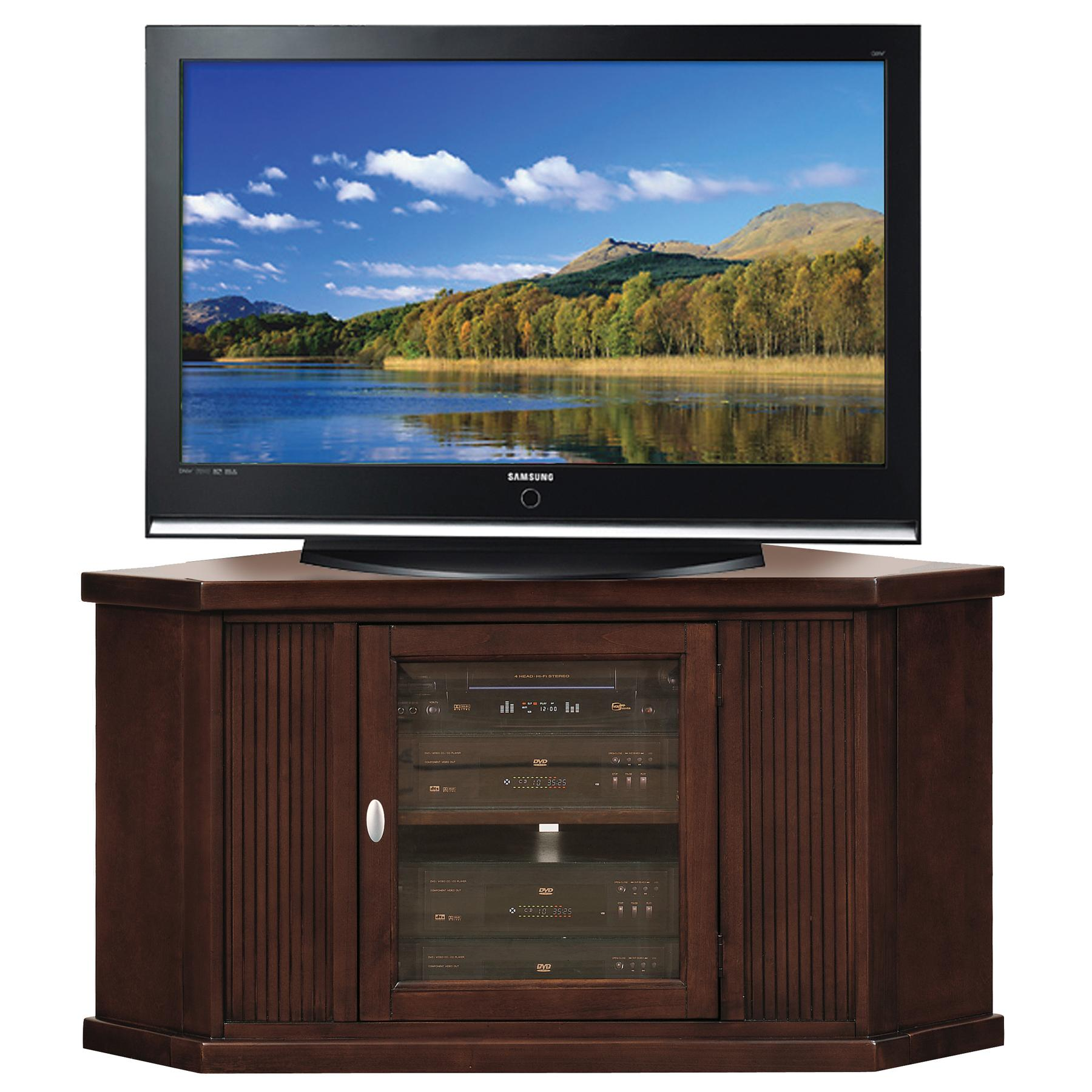 leick home riley holliday 46 corner tv stand. Black Bedroom Furniture Sets. Home Design Ideas