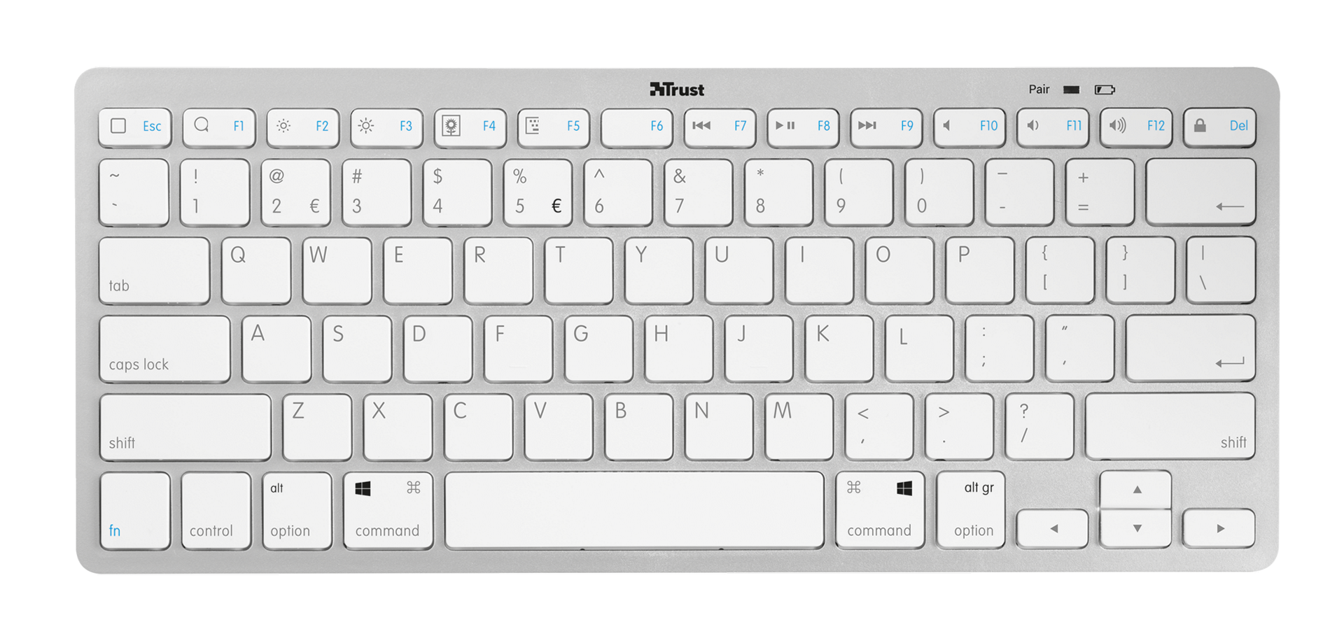 trust nado wireless bluetooth keyboard uk layout white computers accessories. Black Bedroom Furniture Sets. Home Design Ideas