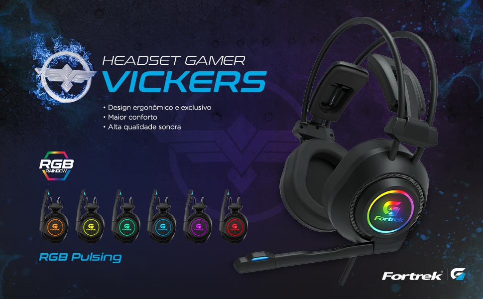 Headset Gamer Vickers Design ergonômico conforto qualidade sonora RGB Pulsing