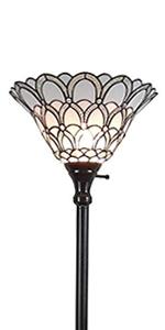 Amora Lighting Tiffany Style Floor Lamp Jeweled Torchiere Glass White Antique Vintage Light Decor
