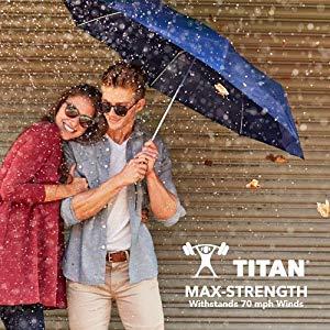 Totes Titan Compact Travel Umbrella Windproof Auto Open//Close Automatic Open//Close Tread Totes Women/'s Accessories 7550 Waterproof