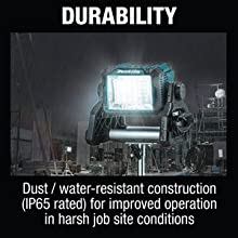 durability dust water resistant construction IP65 rated improved operation harsh jobsite conditions