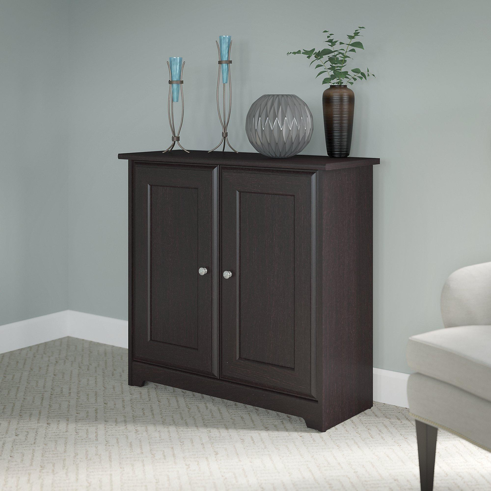 cabot small storage cabinet with doors in espresso oak kitchen dining. Black Bedroom Furniture Sets. Home Design Ideas