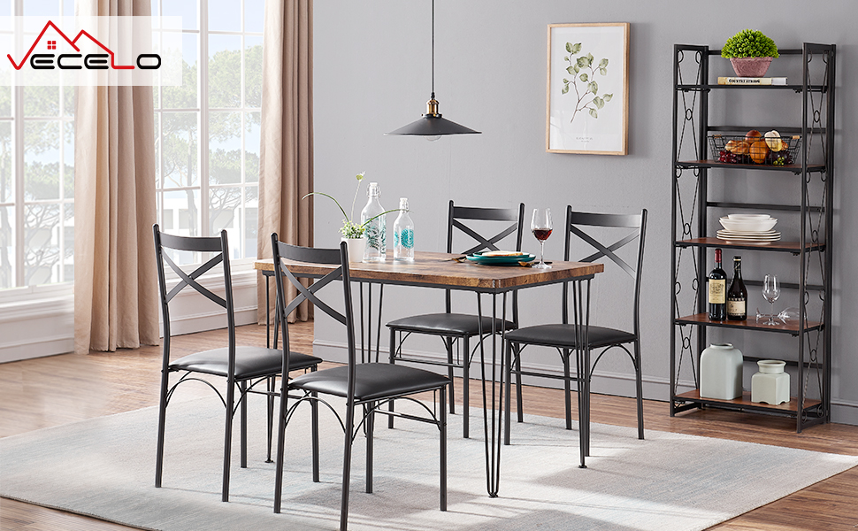Industrial Style Table and 4 Chairs set