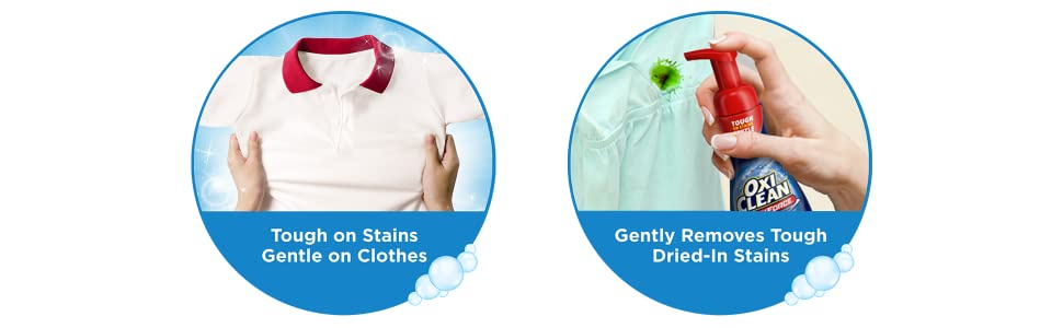 treat OxiClean MaxForce Foam Laundry Stain Remover tough 30 minutes delicate fabrics soak fabric 10