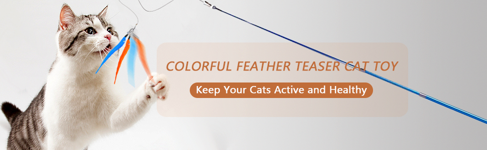 Colorful feather teaser cat toys