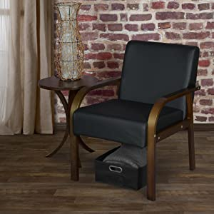 regency, niche, mia, bentwood, chair, lounge, mocha walnut, black vinyl, brick wall, seat, hardwood