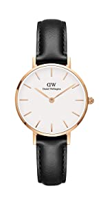dw, daniel wellington, petite sheffield, black leather watch
