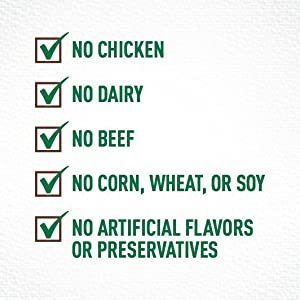 Trusted Sourcing; No Chicken by Product Meal; Artificial Preservatives Corn Soy