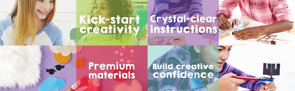 Creativity, Fun, Clear Instructions, Crafting, Premium Materials, Confidence, Creative, Craft