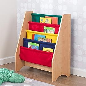 Muebles Para Libros Ninos.Kidkraft 14221 Libreria Infantil De Tela Y Madera Con 4