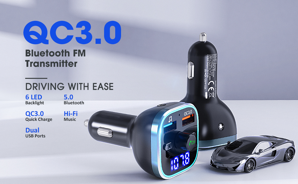 2 USB Ports Hi-Fi Music Support U Disk//TF Card BT 5.0 /&QC3.0 Wireless Bluetooth Car Adapter Music Player Car Kit with LED Backlit Weback Bluetooth FM Transmitter for Car Hands-Free Calling