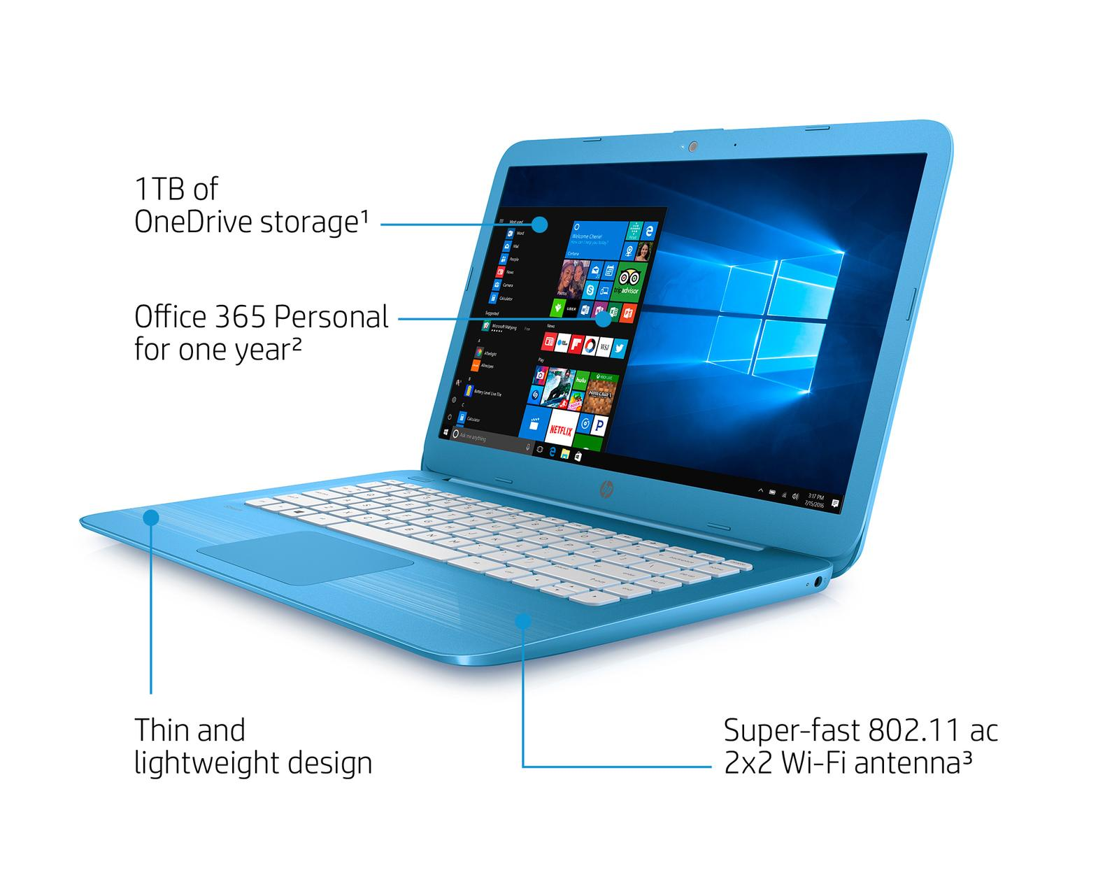 Hp Stream 14 Ax000na 14 Inch Hd Laptop Aqua Blue