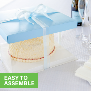 These clear cake containers arrive flat and unassembled for simple storage in your kitchen.