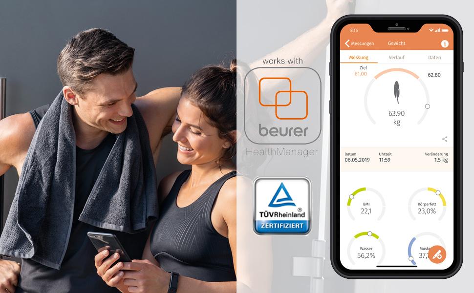 Slimme gewichtsbepaling: de digitale weegschaal kan met de beurer HealthManager-app worden verbonden
