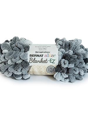 BERNAT ALIZE BLANKET, no needles or hooks required-EZ YARN, SLATE GRAYS