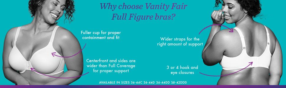 Full Figure, Full Coverage, Full Cup, Containment, Support, Bras, Wide Straps, Vanity Fair,