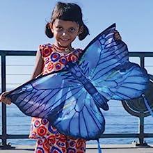 Wind N Sun - Little Girl Holding a Butterfly Karner Blue Kite
