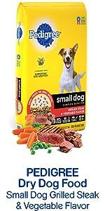 Pedigree Dry Dog Food Small Dog Grilled Steak & Vegetable Flavor, Veggies, Little Dog