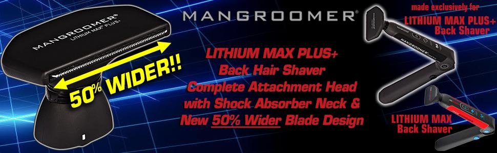 LITHIUM MAX PLUS+ Back Hair Shaver (New 5th Generation) Complete Attachment Head With Shock Absorber