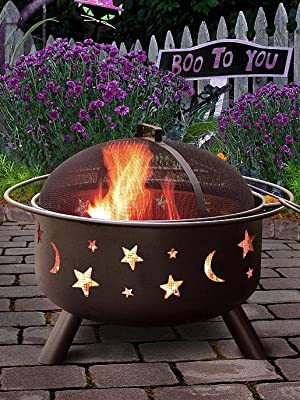 Amazon Com Landmann 28345 Big Sky Stars And Moons Firepit Black Fire Pits Garden Outdoor