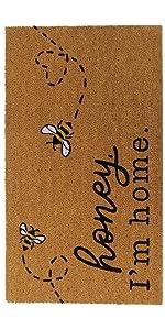 elrene home fashions bee honey bee, bumble bee, coir mat, doormat, bee rug