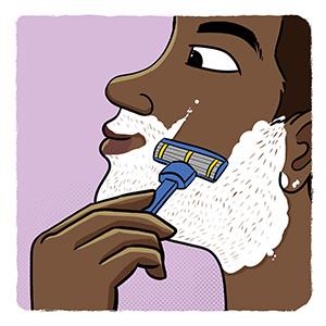 Cartoon image of young boy shaving.