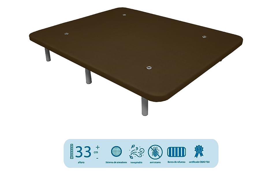 Somier Lama Ancha con Patas Conjunto 80x200 Du/érmete Online Cama Completa con Colch/ón viscoel/ástico Pocket Visco Reversible